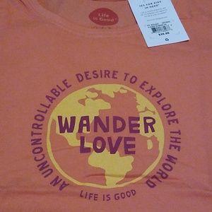Women's Medium T-shirt by Life is Good Wander Love